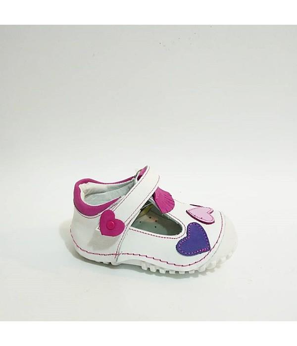 Sanbe Beyaz Fuşya Hakiki Deri Tam Ortopedik Cırtlı İlk Adım Kız Bebek Ayakkabısı