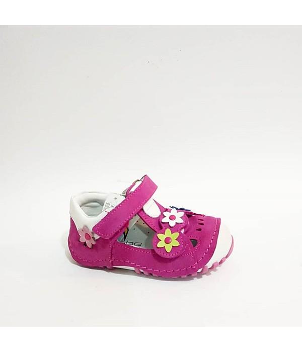Sanbe Fuşya Pembe Hakiki Deri Tam Ortopedik İlk Adım Kız Bebek Ayakkabısı