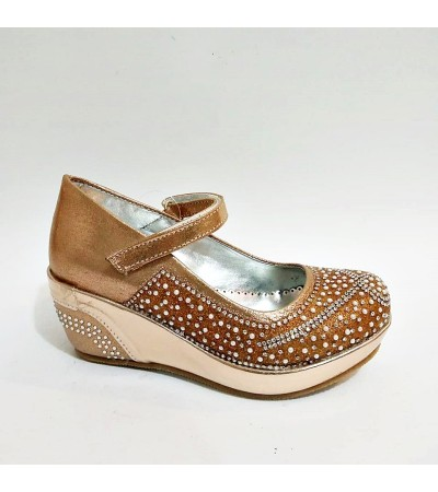 Sanbe Dolgu Topuk Gold Cırtlı Kız Çocuk Abiye Ayakkabı