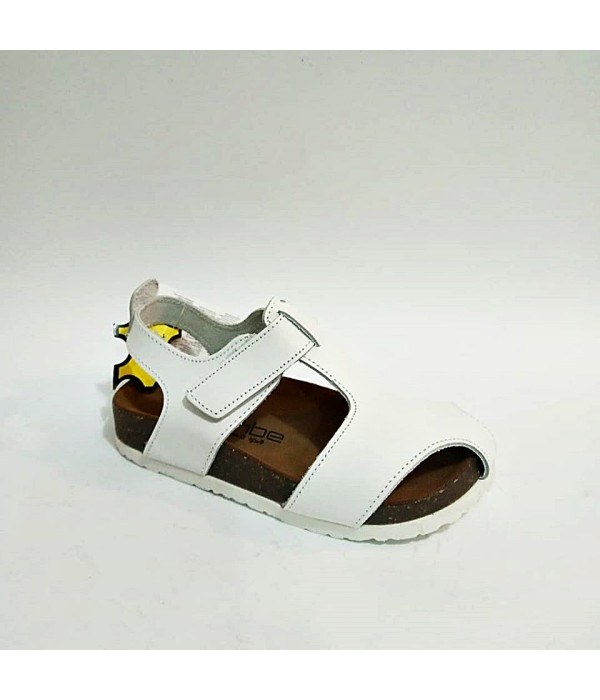 Sanbe Beyaz Hakiki Deri Tam Ortopedik Cırtlı Kız Erkek Çocuk Sandalet