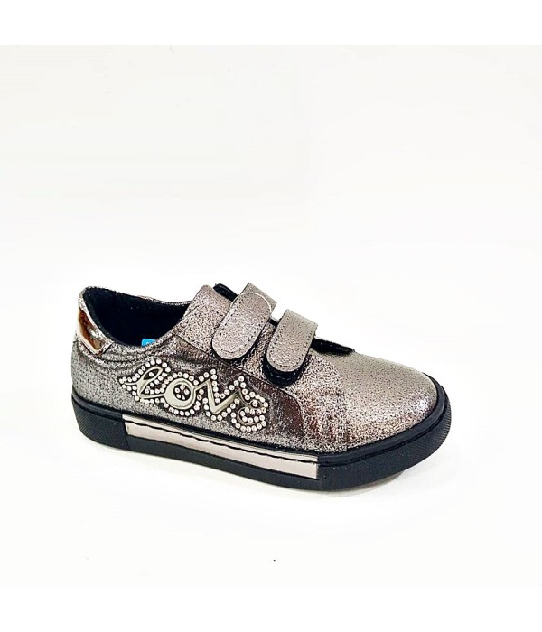 Sanbe Cırtlı Gri  Simli Taşlı Kız Çocuk Ayakkabı