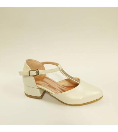 Sanbe Taşlı Topuklu Sedef Beyaz Kız Çocuk Abiye Ayakkabı