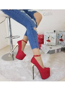 Tanemçelik Yüksek Platform Kırmızı Süet Topuklu Bayan Ayakkabı