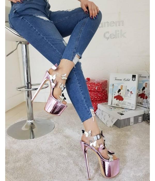 Tanemçelik Pembe Neon Pembe Yazlık Platform Bayan Ayakkabı