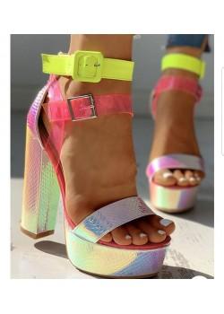 Tanemçelik Pembe Sarı Bantlı Yazlık Platform Bayan Ayakkabı