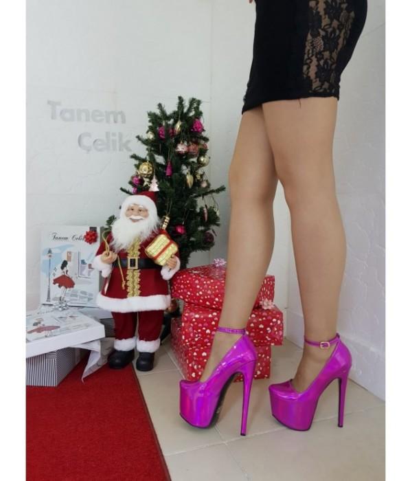 Tanemçelik İnce Topuk Pembe 21 cm Kalın Topuklu Bayan Abiye Ayakkabı