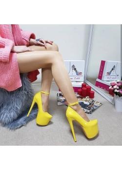 Tanemçelik Yüksek Platform Sarı Rugan Topuklu Bayan Abiye Ayakkabı