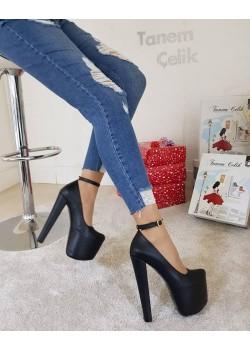 Tanemçelik Yüksek Platform Siyah Cilt 21 cm Topuklu Bayan Abiye Ayakkabı