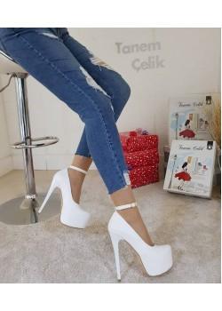 Tanemçelik Beyaz Cilt 16 cm İnce Topuk Bayan Abiye Ayakkabı
