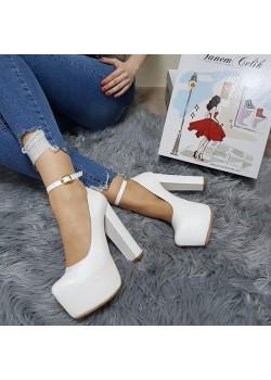 Tanemçelik Yüksek Platform Beyaz Cilt 16 cm Kalın Topuklu Bayan Abiye Ayakkabı